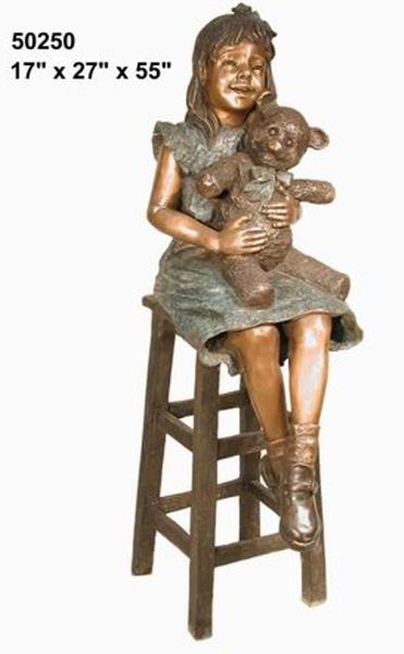 Bronze Girl Holding Teddy Bear Statue - AF 50250