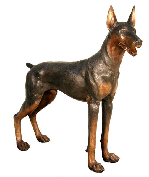 Bronze Dog Doberman Statue - AF 50322