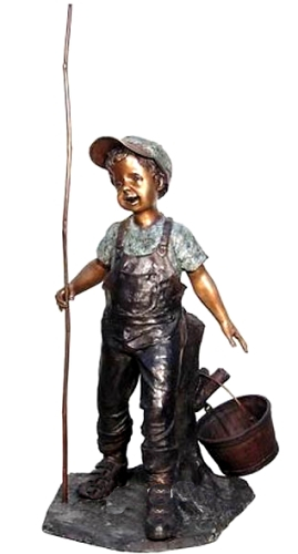 Bronze Boy Fishing Pole & Bucket Statue - AF 50396