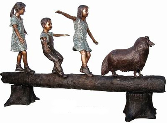 Bronze Kids Tree Log Fountain - AF 50406-1