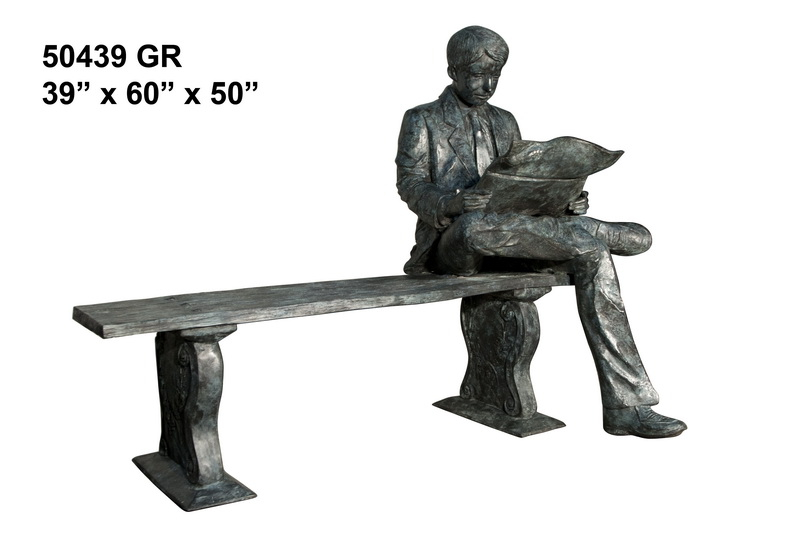 Bronze Man Bench Reading Statue - AF 50439GR