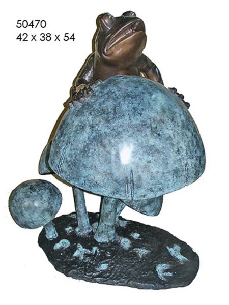 Bronze Frog on Mushroom Statue - AF 50470