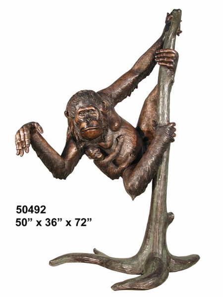 Bronze Monkey in Tree Statue - AF 50492