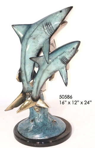 Bronze Sharks Statue - AF 50586