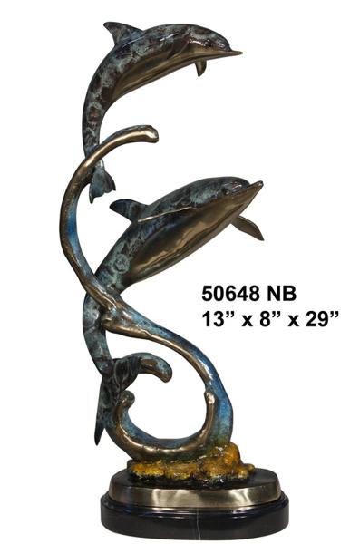 Bronze Dolphin Statue - AF 50648NB
