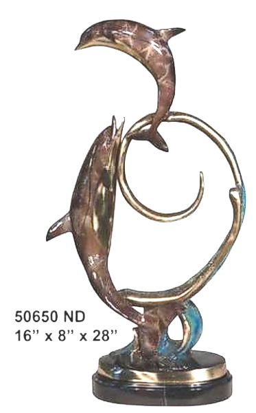 Bronze Dolphin Statue - AF 50650ND