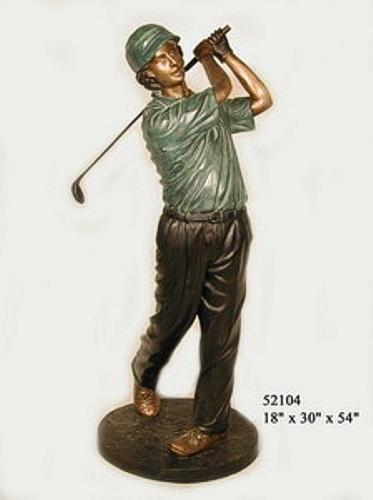 Bronze Golfer Tee Off Statue - AF 52104