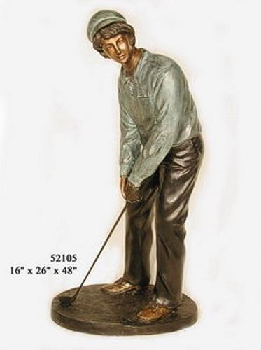 Bronze Golfer Tee Off Statue - AF 52105