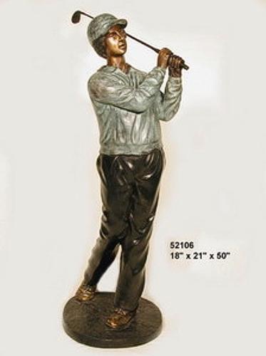 Bronze Golfer Iron Statue - AF 52106