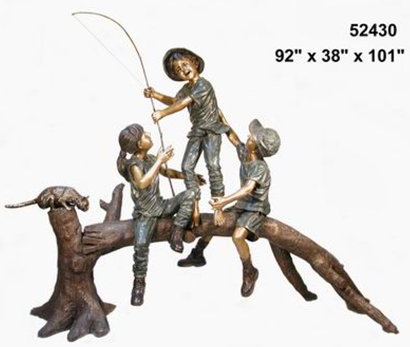 Bronze Kids Tree Log Statue - AF 52430