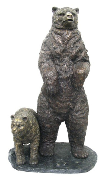 Bronze Grizzly Bear & Cub Statue - AF 52445