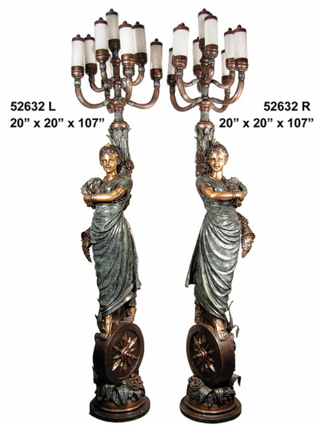 Bronze Ladies Torchiere Lamps - AF 52632