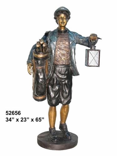 Bronze Caddy Lantern Statue - AF 52656