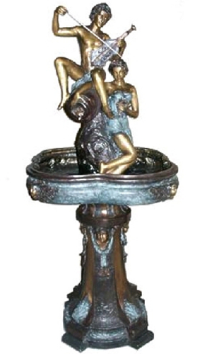 Bronze Man & Woman Violin Fountain - AF 52694