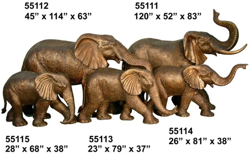 Bronze Elephant Statue - AF 55111-15