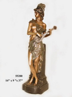 Bronze Lady with Mandolin Statue - AF 55200