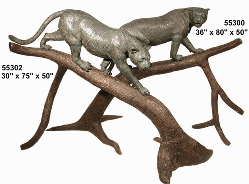 Bronze Cougar Tree Statue - AF 55300