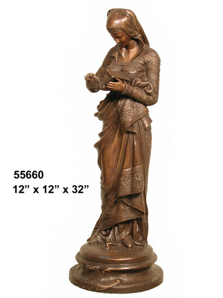 Bronze Lady Reading Statue - AF 55660