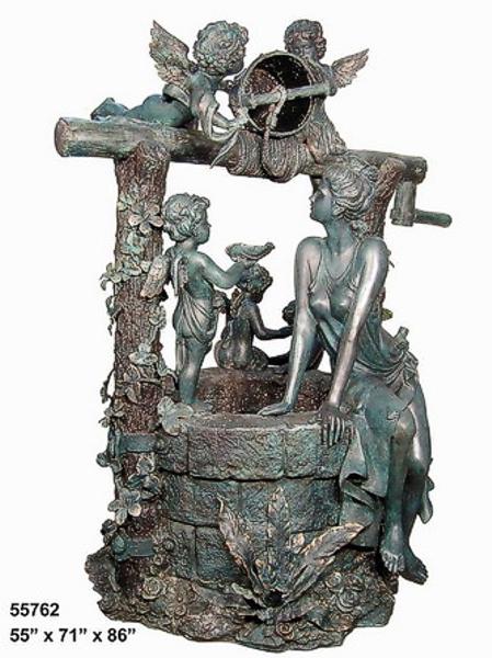 Bronze Lady & Cherubs Fountain - AF 55762
