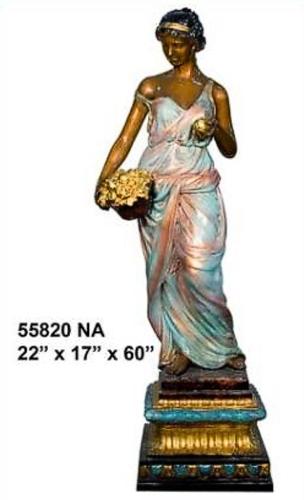 Bronze Lady Flower Basket Statue - AF 55820 NA