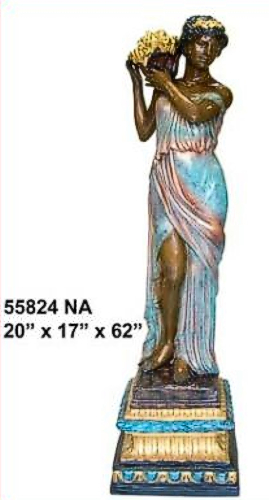 Bronze Lady Flower Basket Statue - AF 55824 NA