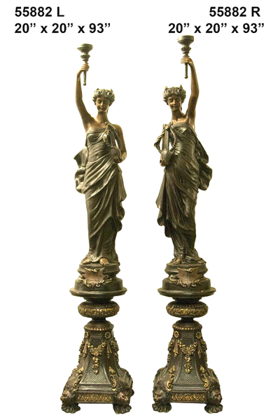 Bronze Ladies Torchiere Lamps - AF 55882