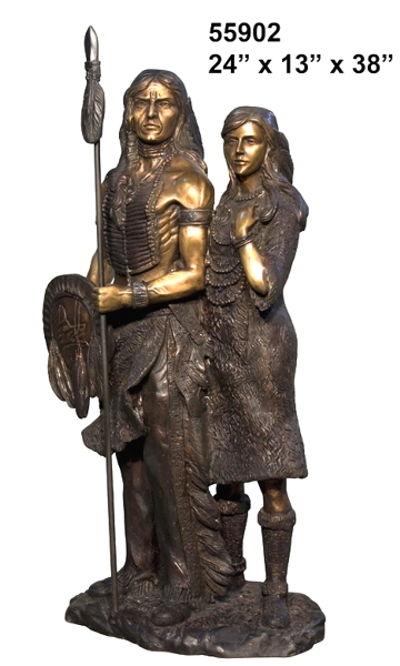 Bronze Indian and Squaw Statue - AF 55902