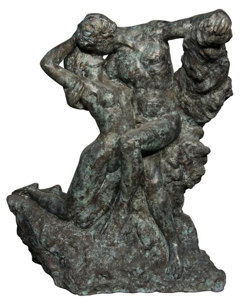 Bronze Man & Woman Embracing Statue - AF 55909M