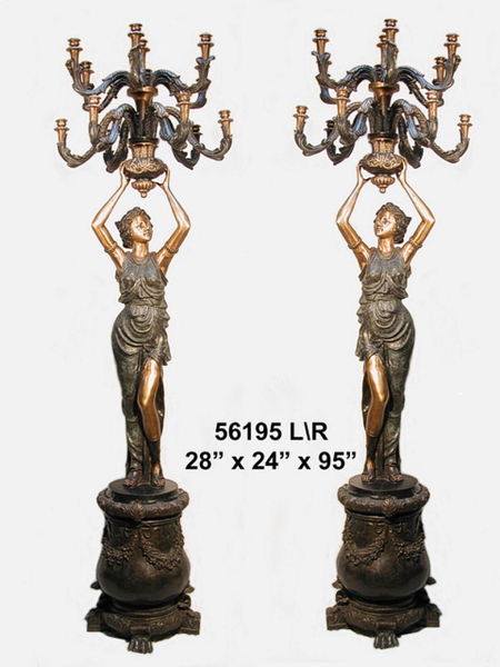 Bronze Ladies Candelabra or Torchiere Light - AF 56195