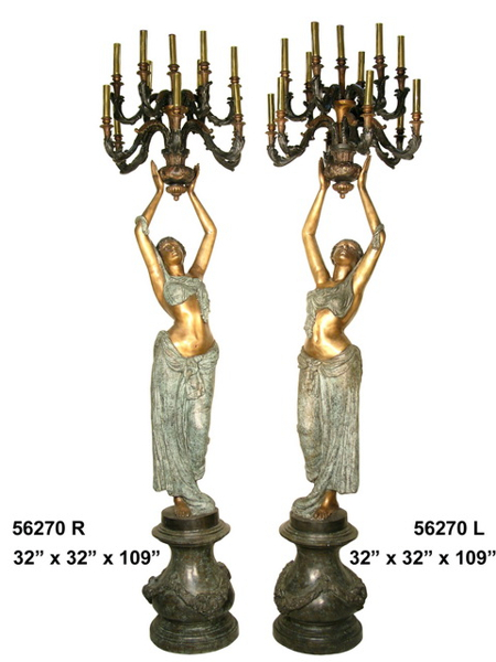 Bronze Ladies Candelabra or Torchiere Lighting