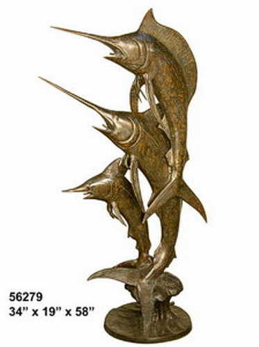 Bronze Sailfish Sculpture Statue - AF 56279-S