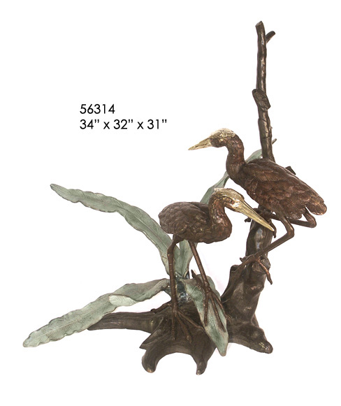 Bronze Crane Fountains - AF 56314