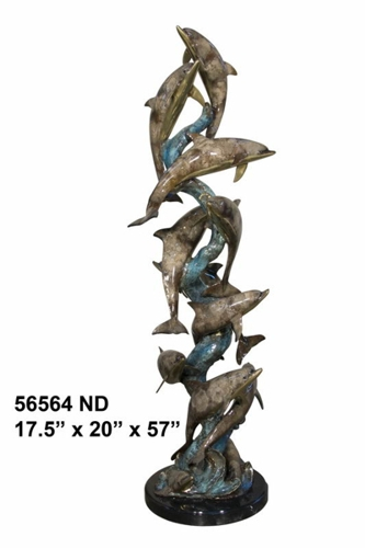 Bronze Dolphin Statue - AF 56564ND