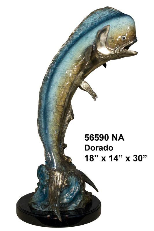 Bronze Jumping Dorado Statue - AF 56590NA