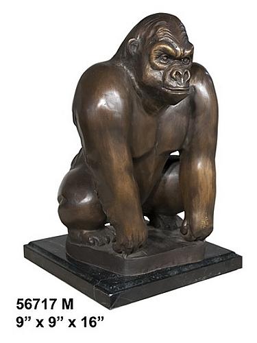 Bronze Gorilla Marble Base Statue - AF 56717M