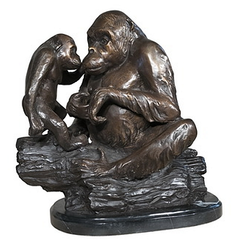 Bronze Two Gorilla Marble Base Statue - AF 56719M