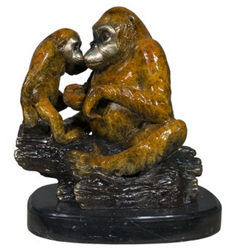 Bronze Two Gorilla Marble Base Statue - AF 56719NA
