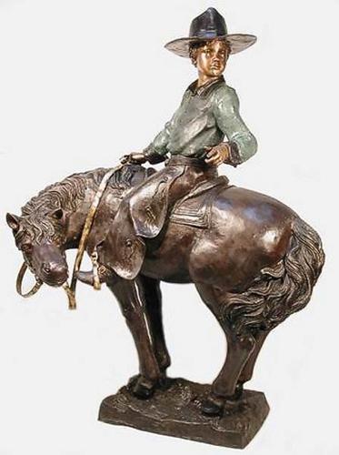 Bronze Cowboy Riding Pony Statue - AF 57074