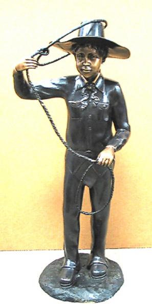 Bronze Cowboy Lasso Statue - AF 57115