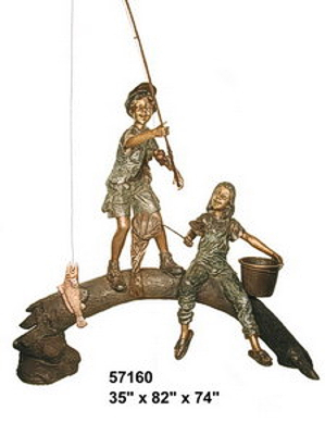Bronze Kids Tree Log Fountain - AF 57160-1