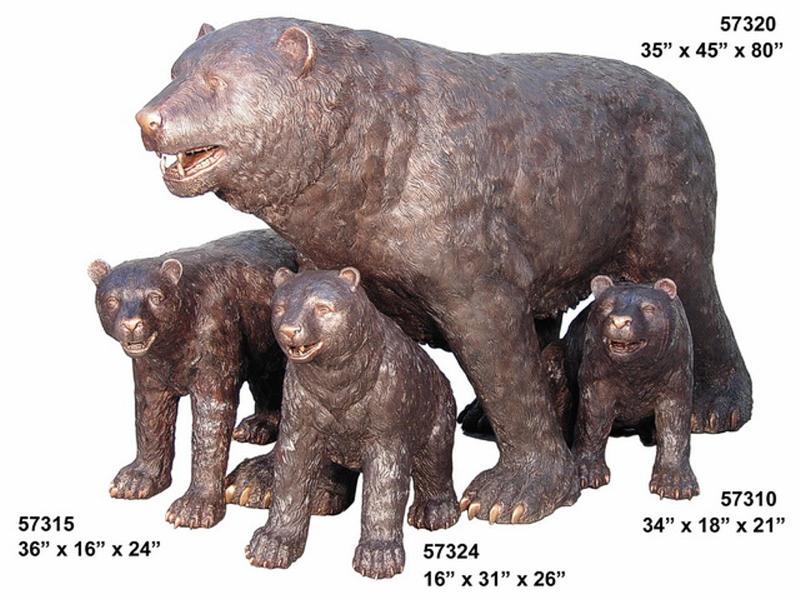 Bronze Bear Statues - AF 57310-15-20-24
