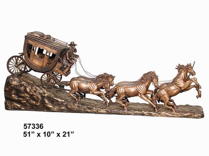 Bronze Western Stagecoach Statue - AF 57336