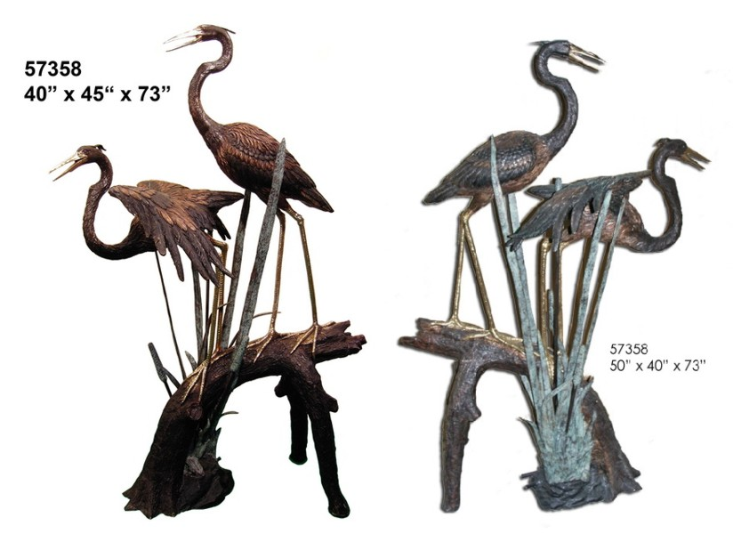 Bronze Heron Fountains - AF 57358