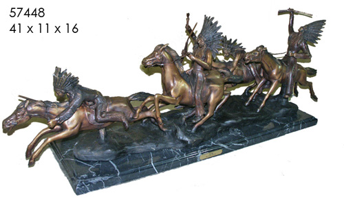 Bronze Indian Raiding Party Statue - AF 57448