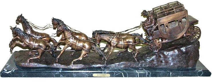 Bronze Western Stagecoach Statue - AF 57450