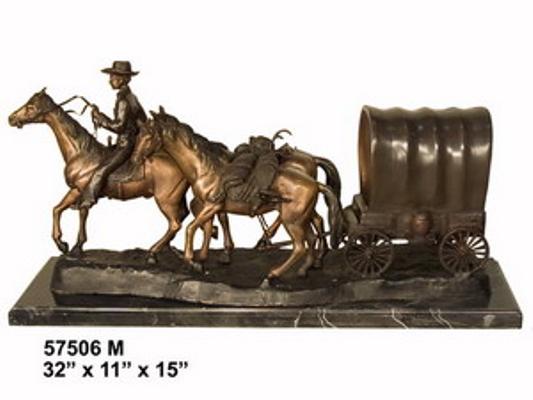 Bronze Cowboy Wagon Statues - AF 57506M