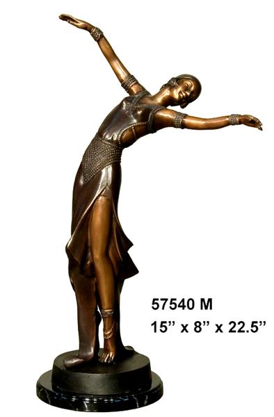 Bronze Dancing Lady Statue - AF 57540