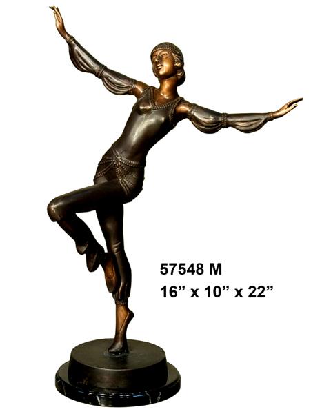 Bronze Dancing Lady Statue - AF 57548M