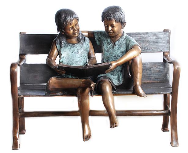 Bronze Children Bench Reading - AF 57627