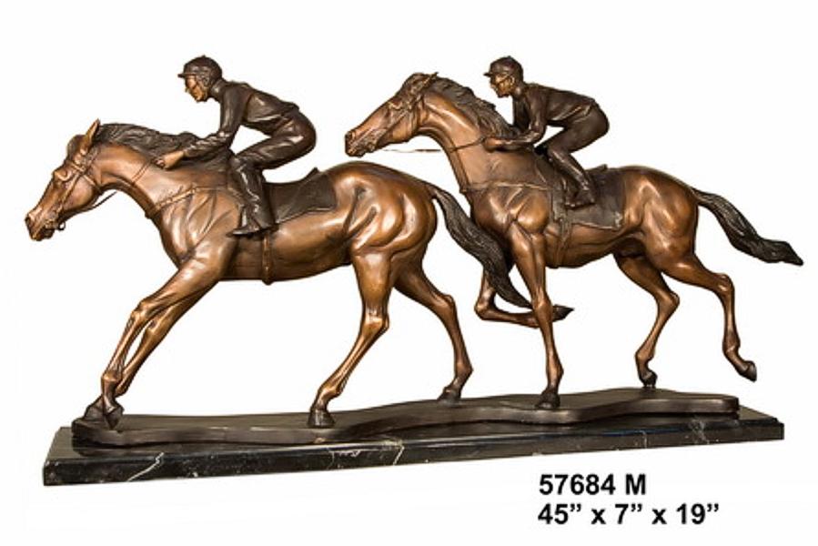 Bronze Racing Jockeys Horse Statue - AF 57684M